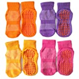Leeshow 4Pairs Non Slip Trampoline Socks for Kids, Anti Skid Gripy Floor Socks for Exercises, Gym, Yoga and Pilates (Pink, Purple, Orange, Yellow, 2-5years)