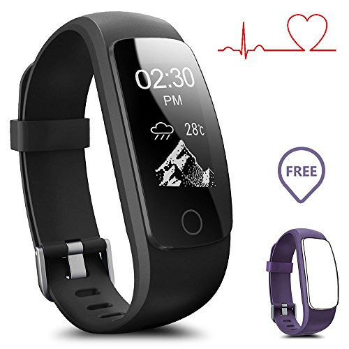 Smartwatch impermeabile IP67 Activity Tracker con cardiofrequenzimetro, fitness tracker 2,4 cm OLED con pedometro Bluetooth 4.0, smartwatch wireless, presa USB di ricarica, il braccialetto fornisce anche le previsioni meteo, Uomo, ID107PLUS-Black+Purple(Band)