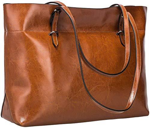 S-ZONE Women's Vintage Genuine Leather Tote Shoulder Bag Handbag (Dark...