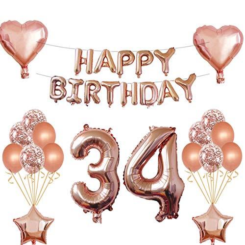 Oumezon Décoration d'anniversaire 34 ans pour fille - Or rose - Décoration d'anniversaire pour fille et garçon - Guirlande de ballons - Ballons gonflables