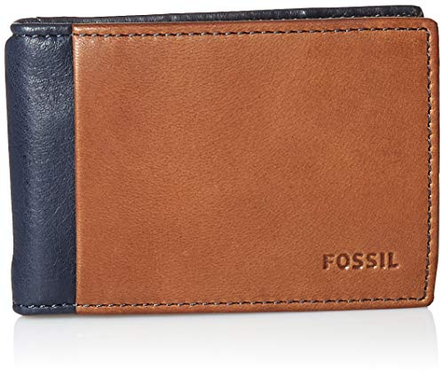 Fossil Men's Ward Leather RFID blocking Bifold Wallet, Navy