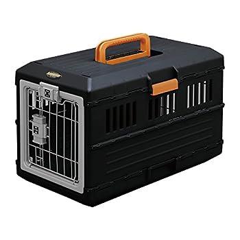Iris Ohyama, Caisse de transport / cage de transport pliable 2 portes, pour chien et chat max 12 kg - Pet Carry - FC-550 , plastique, noir, 3,6 kg, 31,5 x 55 x 36,4 cm