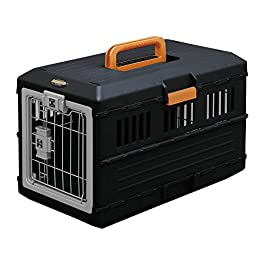 Iris Ohyama, Folding transport box / transport cage 2 doors, for dogs and cats max 12 kg – Pet Carry FC-550 – Plastic, Black, 3.6 kg, 31.5 x 55 x 36.4 cm
