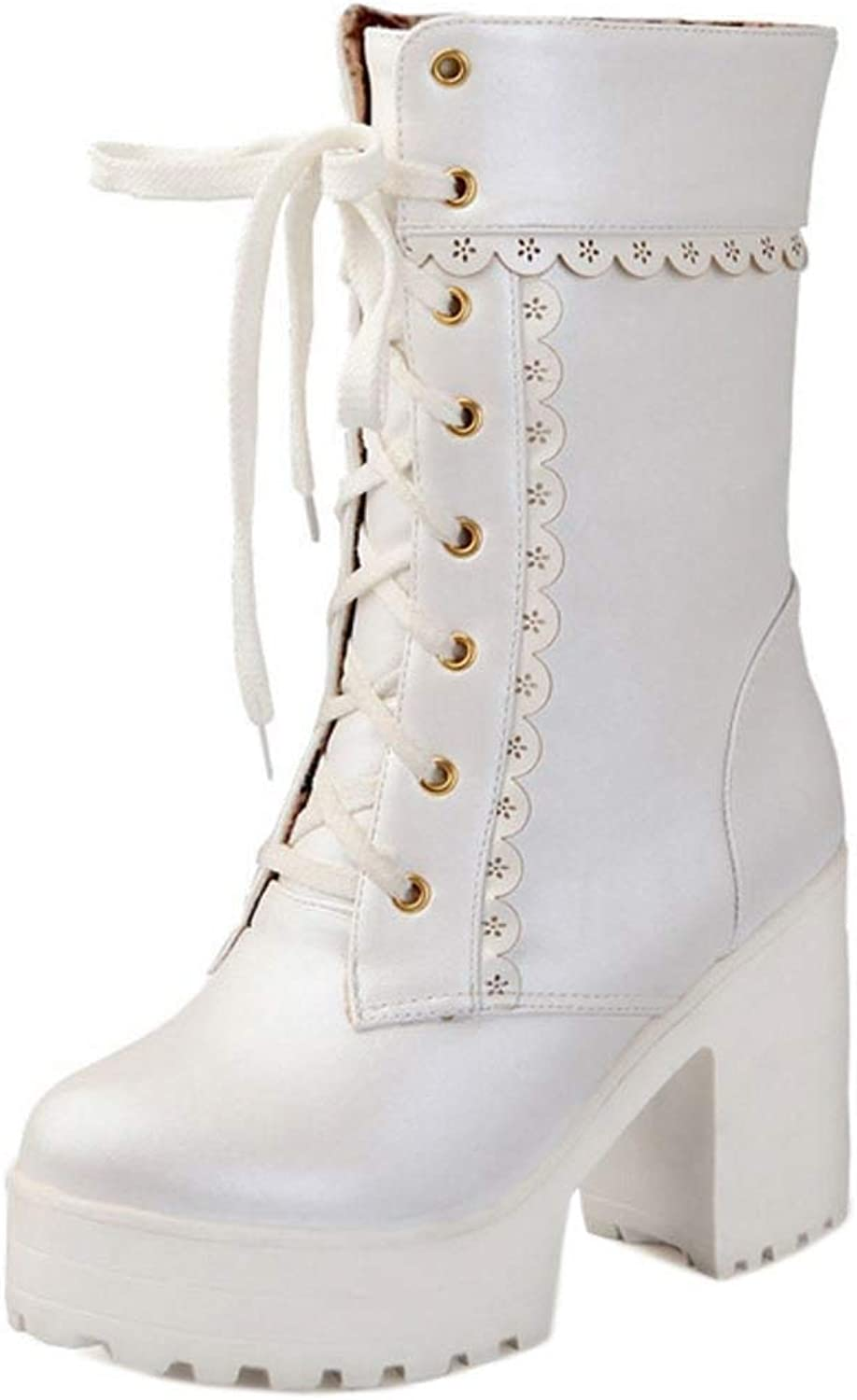 Unm Women Fashion Lace Up Autumn Winter Platform Boots Chunky Heel shoes