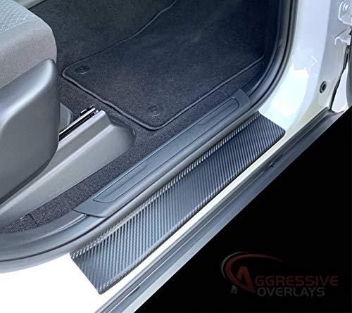 Aggressive Overlays 4 Pieces Car Door Sill Protector Door Scuff Plate Cover Carbon Fiber Stickers Bumper Protector Interior Accessories Existing Scratch Cover and Door Anti Scratch 4D Black