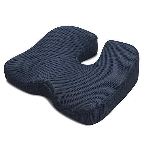 IKSTARクッション座布団低反発椅子クッションオフィス車用RoHS安全基準クリア座り心地抜群通気性洗えるネイビー
