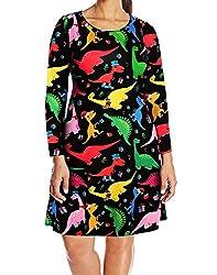 4. HDE Womens Long Sleeve Dinosaur Party Dress