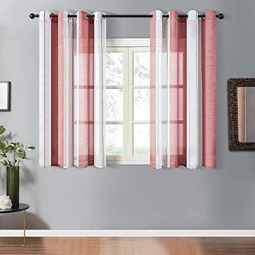 Topfinel Transparente Ösenvorhänge Voile Gardinen mit Schmalen Streifen Dekoschal für Wohnzimmer und Schlafzimmer Fenster 2er Set je 145x140cm (HxB) Weinrot