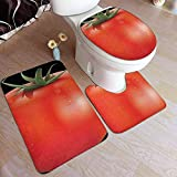 LAURE Bath Mat Felpudo Tomate Logotipo Divertido 3 Piezas Alfombrilla de baño Alfombrilla de baño para el hogar