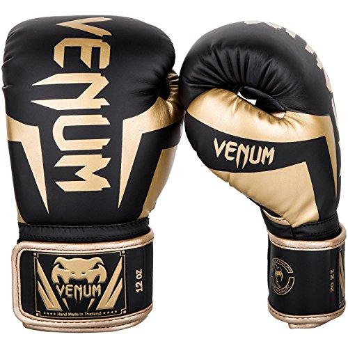 Venum Elite Boxhandschuhe, Schwarz / Gold, 12oz