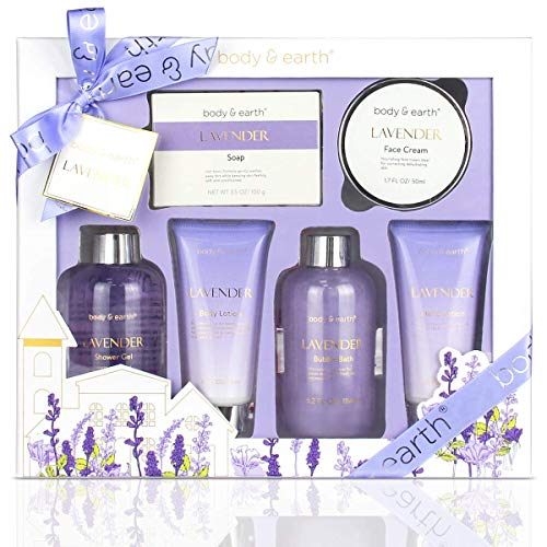 Bath and Body Gift Set - Luxurious 6 Pcs Bath Kit for Women, Body & Earth Spa Set with Lavender...