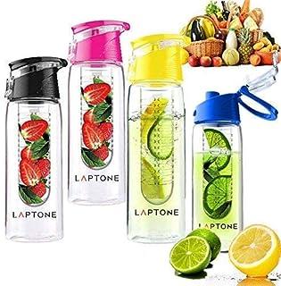 Laptone LHP0012 - Botella de agua con infuseras de frutas, con tapa abatible, 100% sin BPA, 800ml, rojo
