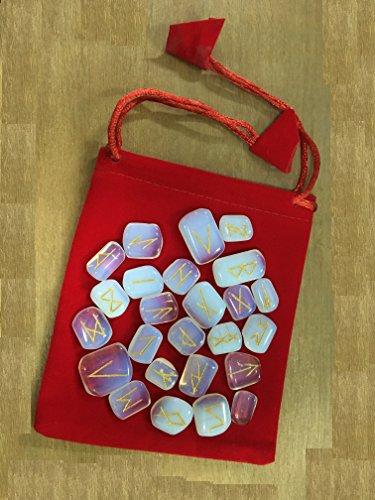 Opalite Gemstone Runes with Engraved Lettering and Velvet Bag