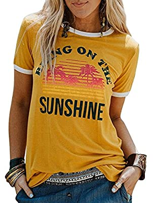 Juniors Bring On The Sunshine Funny T Shirt Letters Graphic Casual O-Neck Tees Tops