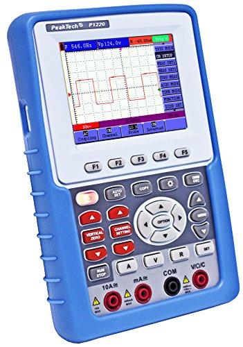 Peaktech 1220 – Osciloscopio de Almacenamiento de 1 Canal (20Mhz) y Multímetro Rms con Interfaz USB y Pantalla A Color de 3.8