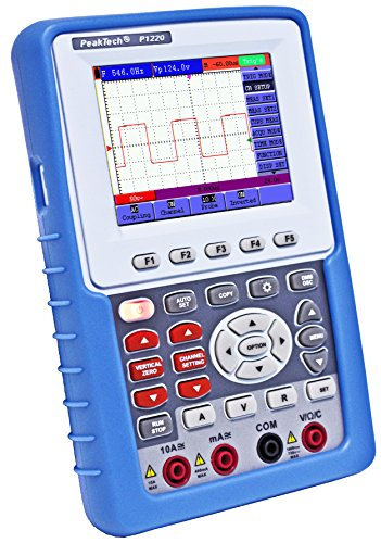 """PeakTech 1220 – 1-Kanal Speicher-Oszilloskop (20MHz) & True RMS Multimeter mit USB-Schnittstelle & 3,8"""" Farbdisplay, Tragbares DSO, Digitales Speicher Hand-Oszilloskop inkl. Koffer mit Zubehör"""