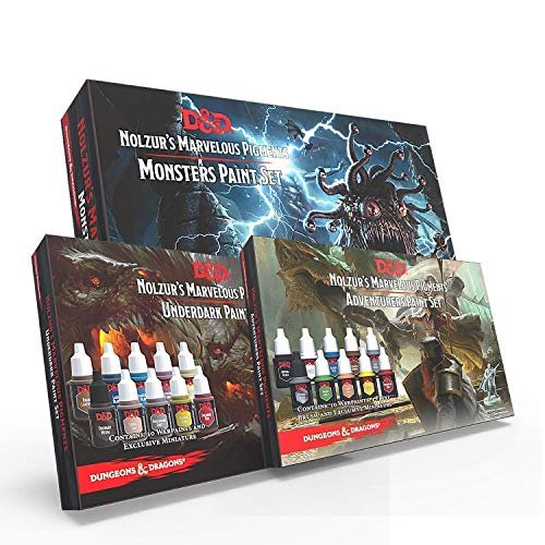 The Army Painter Dungeons and Dragons Adventurer's Paint Set - Monster's Paint Set - Underdark Paint Set Bundle: Super Bundle of 56 DND Miniature Paints, 1 Model Paint Brush, and 3 Miniatures