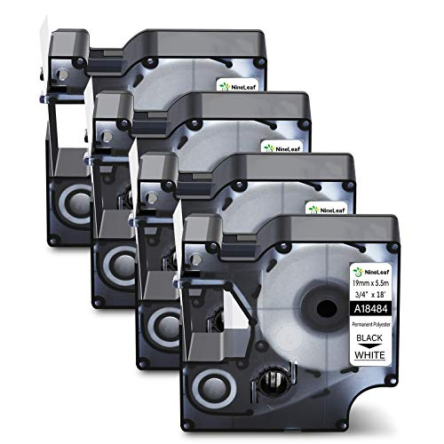 """NineLeaf 4 Pack Black on White Permanent Polyester Industrial Label Tape Compatible for Dymo 18484 19mm 3/4"""" x 18ft Labeling Refill Cartridge use in Rhino 4200 5000 5200 6000 Label Maker"""