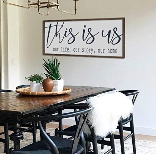 Amazon Com N A Farmhouse Decor Wall Decor This Is Us Sign Dining Room Wall Art Large Wood Sign Farmhouse Sign Large Living Room Decor Home Kitchen