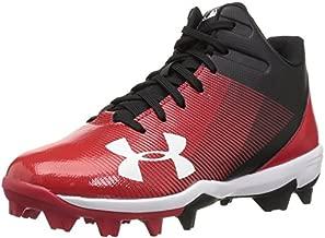 Under Armour Boys' Leadoff Mid Jr. RM Baseball Shoe, Black (061)/Red, 3
