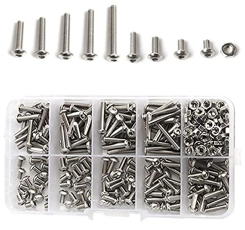 Kytpyi perno hexagonal, tornillos y tuercas tornillos hexagonales juego de tornillos y tuercas exagonales kit de tornillos y tuercas tornillos de cabeza redonda (340 piezas)