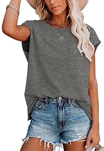 AOISAGULA Damen Casual T-Shirt Kurzarm Bluse Sommer Lose Tops Rundhals Basic Oberteile mit Tasche Grau M