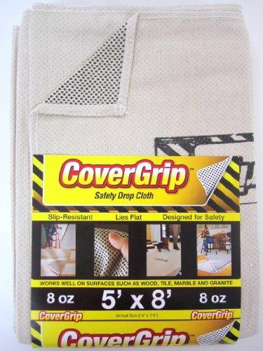 CoverGrip 8 oz Canvas Safety Drop Cloth, 5' x 8'