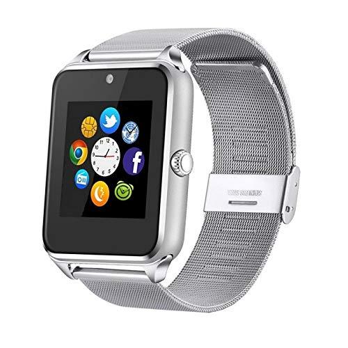 Generisch PromoTech Z60 - Reloj inteligente deportivo con Bluetooth 3.0 + pantalla táctil de 1,54 pulgadas + cámara + tarjeta SIM GSM/GPRS para Android e iOS (plateado)