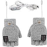 Guantes calentados por USB para mujer y hombre de invierno, cálidos, sin dedos, 3 niveles de calefacción, guantes de punto, calentador de manos para interiores y exteriores (gris)