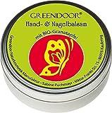 Greendoor Bálsamo de mano / Crema ideal para muy piel seca con BIO Granada, Cosmética natural sin conservantes, Hand Aceite Mineral y Parabenos, 4 x Productividad frente a una crema, uñas