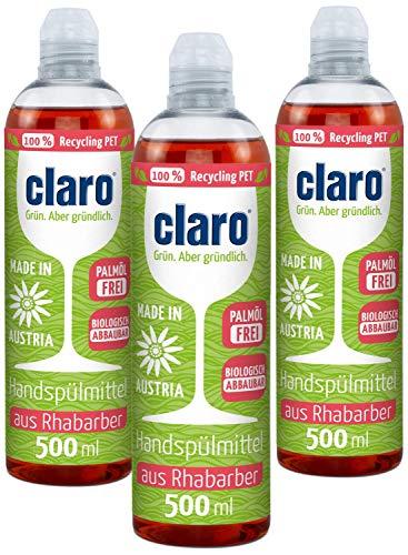 CLARO 3 x 500 ml Liquide Vaisselle Mains Ecologique - Produit Vaisselle - Détergent Biologique Pour la Vaisselle