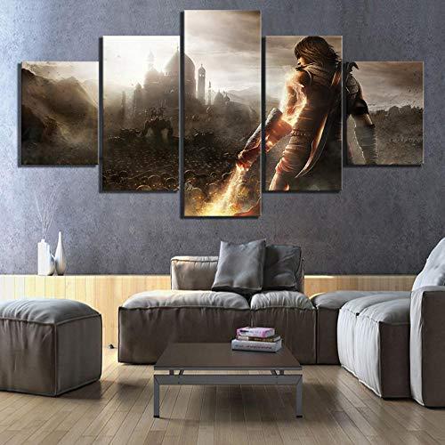 YTTBH 5 Piezas HD Fantasy Art Picture Prince of Persia The Forgotten Sands Póster de Videojuegos Pinturas en Lienzo para la decoración de la Pared del hogar, Enmarcado 20X35 20X45 20X55cm