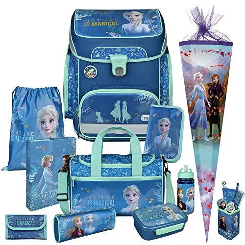 Frozen - Eiskönigin - SCOOLI Undercover EasyFit Schulranzen-Set 12tlg. mit Sporttasche, BROTDOSE, TRINKFLASCHE, SCHULTÜTE, STIFTEBECHER und HEFTBOX - GELDBÖRSE GRATIS DAZU
