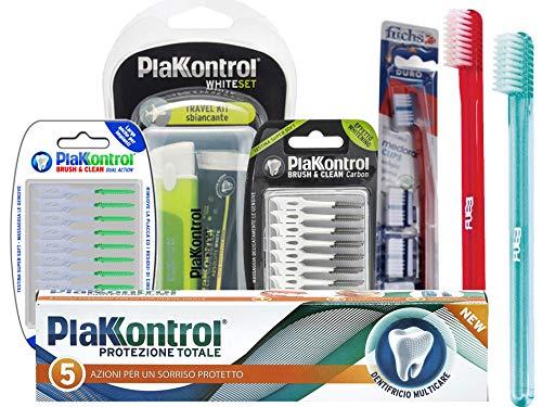 PlakKontroll 3 spazzolini + dentifricio + 40 scovolini + 40 scovolini whitening+ kit whitening viaggio