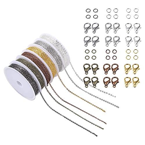FITYLE Cadenas de Collares de 6 Colores Cadenas de Fabricación de Joyas con Anillos de Salto Abiertos de 6 Colores Y