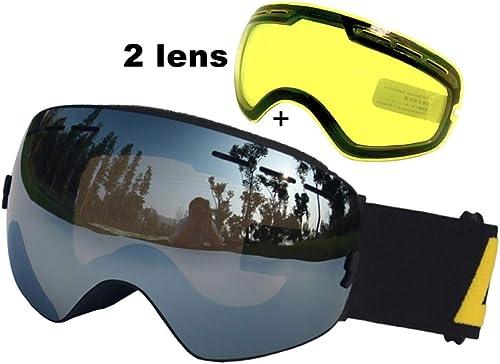 WOQUXIA Lunettes de Ski Anti-buée UV400 Lunettes de Ski Double lentille Lunettes de Ski de Snowboard Ski Lunettes avec Une lentille éclaircissante