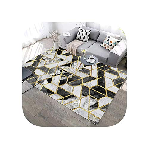 Room Rug | Abstract Geometric Lines Green Carpet for Living Room Sofa Coffee Table Marble Print Rug Blue Washable Floor Mat Room Decor-11-600x900mm