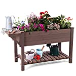 """Raised Garden Bed, Elevated Plant Boxes Outdoor Large with Grow Grid - with Large Storage Shelf 52.7"""" x 22"""" x 30"""" 10 ★ Upgrade with EXTRA side workstation and large bottom storage layer provides a spacious and convenient place to work & store. ★ Easy Growing Up To 8 different herbs/flowers/vegetable with grow grid. The dividers can be easy remove so it's one BIG OPEN PLANTER. ★ FREE INNER LINING are include to separate wood and soil. Spacious raised planter to ensure your plants and vegetables can breathe and grow healthy."""