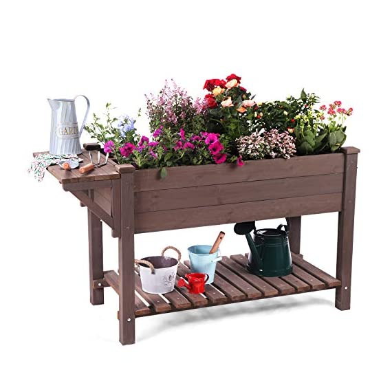 """Raised Garden Bed, Elevated Plant Boxes Outdoor Large with Grow Grid - with Large Storage Shelf 52.7"""" x 22"""" x 30"""" 3 ★ Upgrade with EXTRA side workstation and large bottom storage layer provides a spacious and convenient place to work & store. ★ Easy Growing Up To 8 different herbs/flowers/vegetable with grow grid. The dividers can be easy remove so it's one BIG OPEN PLANTER. ★ FREE INNER LINING are include to separate wood and soil. Spacious raised planter to ensure your plants and vegetables can breathe and grow healthy."""
