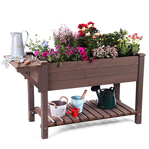 Aivituvin Raised Garden Bed for Herbs, Patio Elevated Flower Planter Vegetable Boxes with Grow Grid - with Large Storage Shelf 52.7' x 22' x 30'