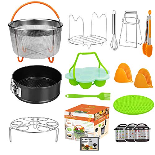 YXWIN 15 pcs Accessories for Instant Pot Compatible with Pressure Cooker 6,8 Qt, Includes Steamer Basket,Tongs, Springform Pan, Silicone Egg Bites Mold, Mitts, Magnetic Cheat Sheets(BONUS RECIPES)