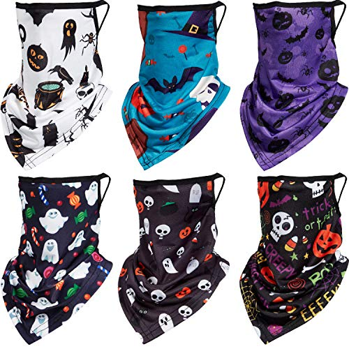 6 Pieces Neck Gaiter for Boys and Girls Bandana Ear Loops Face Covering Scarf with Bat Pumpkin Spider Wizard Hat Skull Ghost Patterns for Halloween Boys, Girls