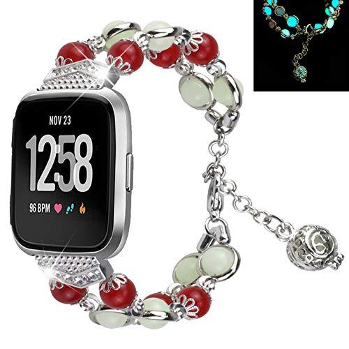 MVRYCE Armband Kompatibel für Versa/Versa 2/Versa Lite, Metallersatzbänder Handgefertigtes Leuchtendes Perlenarmband mit Verstellbarem Edelstahlarmband mit Elastischer Perle (Silber)