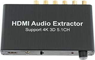 Perfk 5.1CH HDMI Audio Extractor Decoder, Support AC3/DST, Amplifier Analog Converter, Support 4K 3D RCA 3.5mm Headphone O...