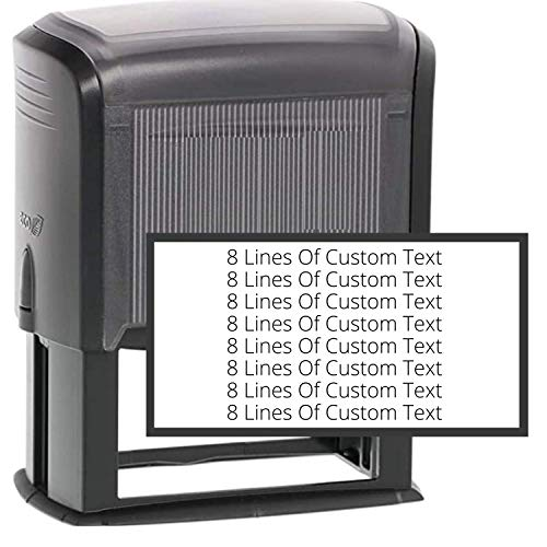 8 Lines Customized Stamp - 20 Font Options - Name Stamp - Return Address Stamp - Wood Handle or Self-Inking (1 1/2' x 3')