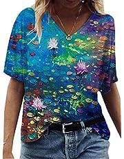 Verano Casual Mujer Ropa De Manga Corta Camisetas Sueltas Street Hipster Camisetas Cuello En V Tops Camiseta