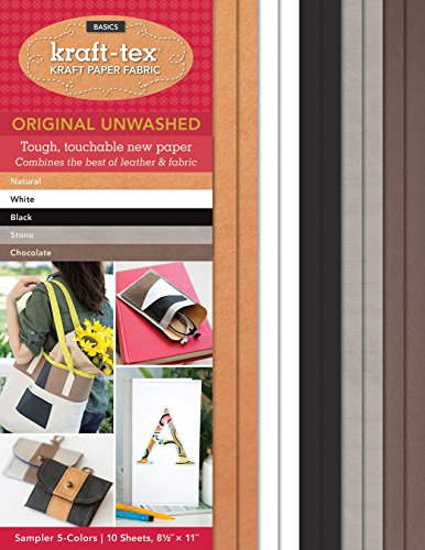 kraft-tex 5 - Color Sampler Pack, 10 Sheets, 8 1/2' x 11': Kraft Paper Fabric (Kraft Tex Kraft Paper Fabric)