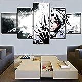 5 piezas cuadro en lienzo Cuadro compuesto por 5 lienzos impresos en HD, utilizados para decoración del hogar y carteles Grey Man Anime Alan Walker (150x80cm sin marco)