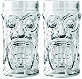 AMZ Empire Screaming Tiki Glasses 16 oz Cooler Glass, 2 Pieces, Modern Bar Party Set With Picks