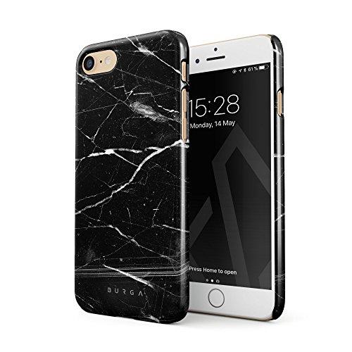 BURGA Hülle Kompatibel mit iPhone 7 / iPhone 8 Handy Huelle Schwarz Marmor Muster Black Marble Mädchen Dünn, Robuste Rückschale aus Kunststoff Handyhülle Schutz Case Cover